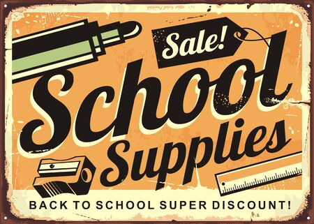 Back to school retro tin sign design layout. Vintage poster for school supplies discount