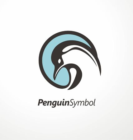Penguin logo design. Round symbol with penguin graphic. Иллюстрация