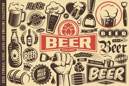 Beer symbols, emblems, icons and design elements collection Illustration