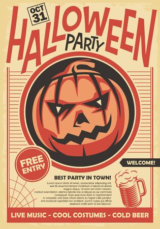 Halloween party poster and invitation card design with pumpkin head on old paper background