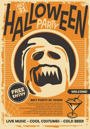 Ghost graphic illustration for Halloween night event. Retro poster design on orange background with spooky creature. Illustration