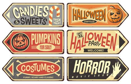 Halloween events retro signs collection