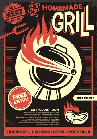 Grill party artistic invitation or poster design template. Barbecue food retro flyer idea with bbq and meat on fire.