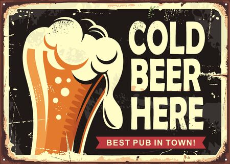 Znak Pub z szklanką piwa. Zimne piwo tutaj projekt plakatu vintage. Ilustracja wektorowa napojów.
