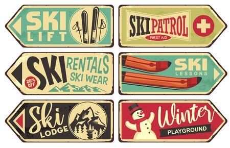 Colección de carteles retro de vacaciones de invierno y esquí. Ilustración de vector vintage con tema de vacaciones de invierno y deportes de nieve. Ilustración de vector