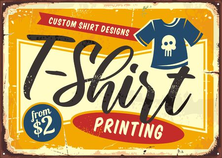 T shirt printing service shop sign. Retro store sign with tee and creative typography. Vector illustration.