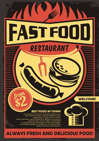 Fast food restaurant promotional menu pamphlet with grilled sausage, chef hat and delicious burger. Barbecue menu vector illustration.