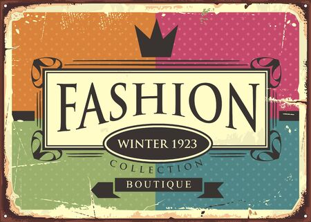 Fashion boutique vintage sign for winter clothing line collection. Colorful retro poster. Vector illustration.