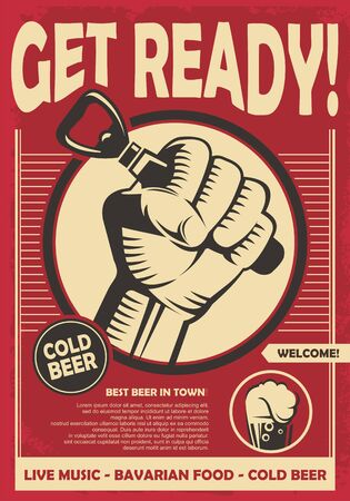 Préparez-vous pour la fête de la bière. Poing de révolution tenant un ouvre-bière, création d'affiches créatives. Vecteurs