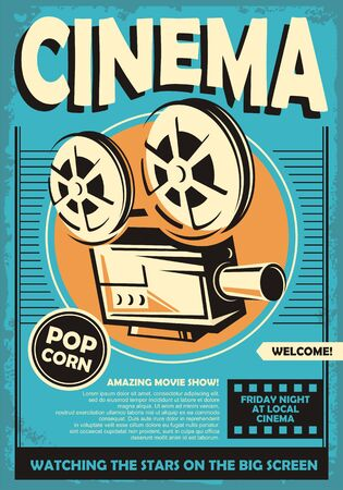 Cinema poster with movie projector camera graphic on retro blue background. Film industry vector concept.  Vintage movie theater flyer illustration.