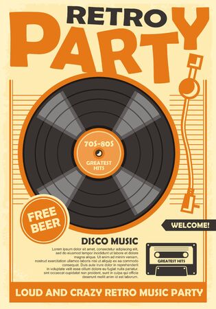 Retro party poster template with vinyl record and audio cassette tape. Disco music and dance event promotion. Vettoriali