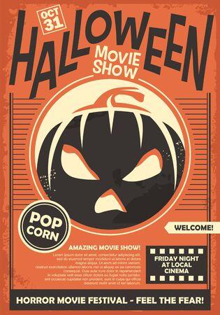 Modello del manifesto promozionale dello spettacolo di film di Halloween. Layout del volantino del festival di film horror cinematografici. Illustrazione vettoriale su sfondo di carta arancione. Vettoriali