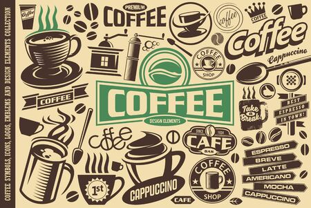 Coffee vector set of icons, logos, emblems, symbols and design elements. Coffee mugs, cups, beans, labels collection.