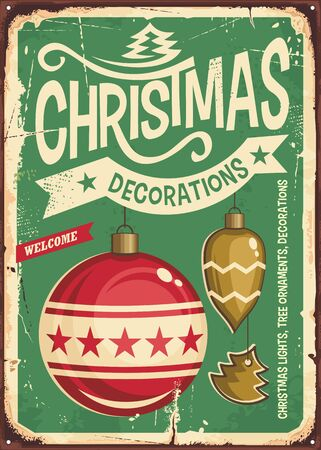 Christmas ornaments sale vintage tin sign. Hanging Christmas baubles on retro green background.