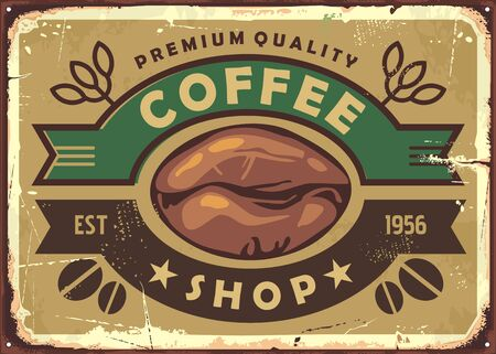 Coffee shop vintage old sign post with coffee bean and ribbon ornaments. Retro vector illustration. Ilustrace