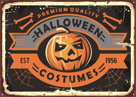Halloween costumes store vintage metal sign board design Иллюстрация