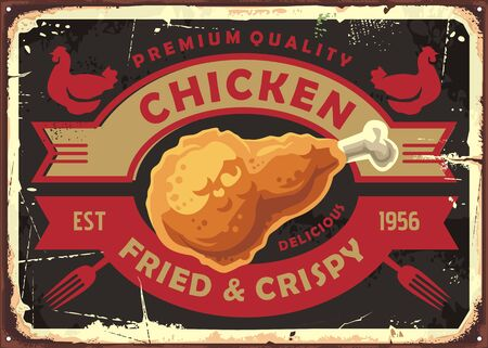 Fried and crispy chicken meat retro sign post with creative emblem. Chicken drumstick on old metal texture.