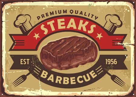 Steak house old sign design with tasty beef meat and vintage emblem on golden background. Illustration