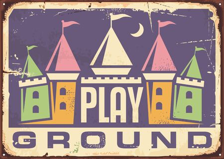 Children playground retro sign with colorful toy castle graphic. Kids zone for playing vintage poster design on violet background.