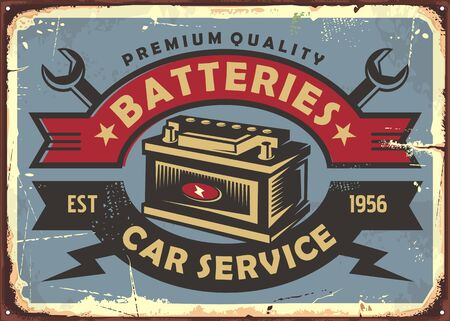 Auto batteries retro poster design for garage and auto parts. Vintage car service sign. Transportation vector illustration.  イラスト・ベクター素材