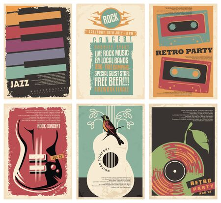 Vintage collection of musical posters. Flyers set for retro parties, rock and jazz concerts, classical guitar events and other music festivals. 일러스트