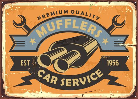 Car service and auto parts retro metal sign concept with muffler graphic