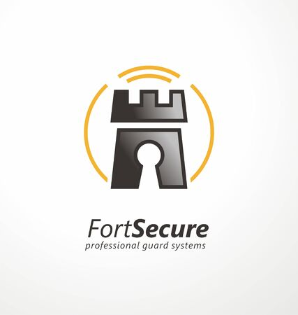 Security agency template. Guard systems emblem design with fort graphic , key hole and radar symbol. Vector safety icon. Illustration