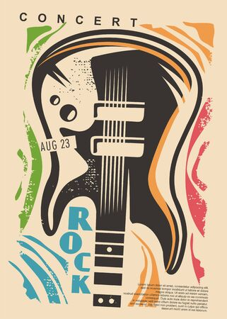 Electric guitar and colorful shapes - rock concert poster design. Music event flyer idea with guitar graphic. Illustration