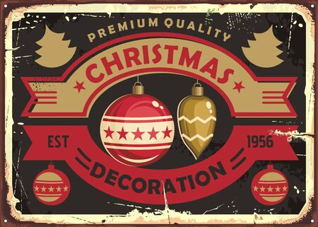 Christmas decoration store retro tin sign design Ilustração