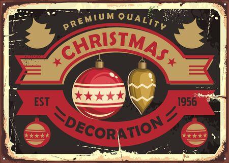 Christmas decoration store retro tin sign design  イラスト・ベクター素材
