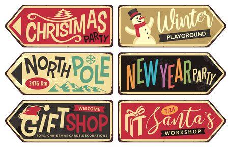 Sammlung von Weihnachtsschildern. Weihnachtsfeier, Winterspielplatz, Nordpol, Silvesterparty, Souvenirladen und Santa's Workshop.