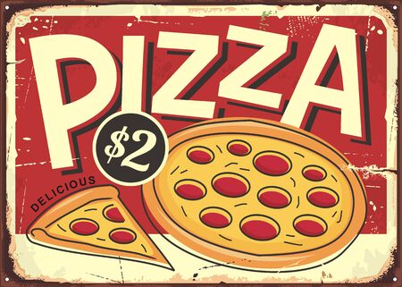 Cartoon style pizzeria sign with pepperoni pizza and pizza slice Illustration