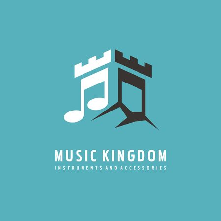 Design idea for music store. Creative symbol design with castle tower and musical note. Vector or icon illustration.