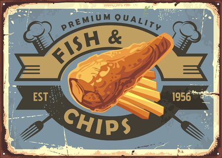 Fish and chips vintage restaurant advertising sign. Bistro menu with fried fish and french fries. Retro food vector illustration. Иллюстрация
