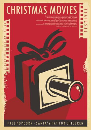Christmas movies festival retro poster design with Christmas gift, film strips  and movie camera. Illustration