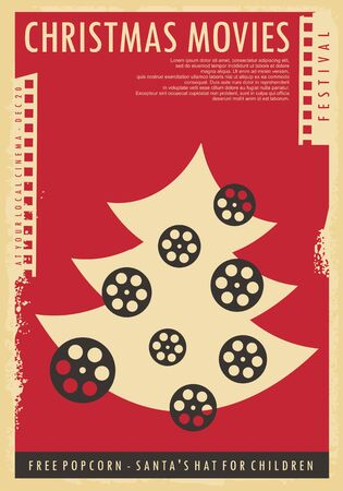 Christmas movies festival conceptual poster design. Retro poster with Christmas tree, film strip and film reel.