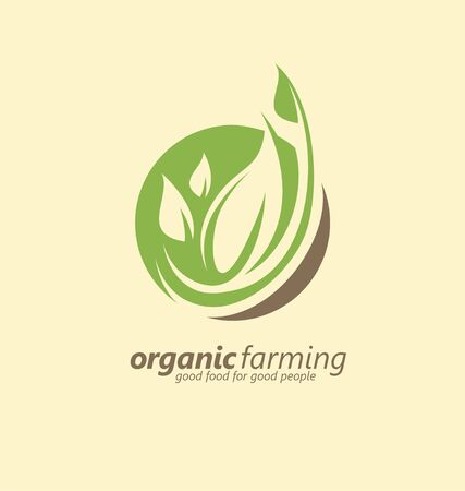 Organic farm design idea with leaf sprout and earth colors. Agriculture industry symbol or emblem design.