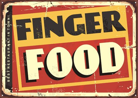 Finger food amazing diner sign design. Vector restaurant tin sign illustration.