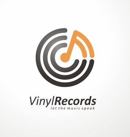 design idea for music store or vinyl records shop. Rounded with musical note. Фото со стока - 133402728
