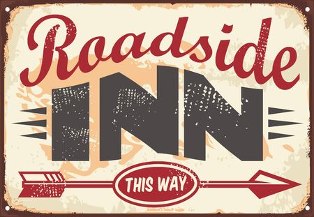 Roadside inn old vintage sign layout. Retro decoration wall poster concept for tavern or cafe bar. 向量圖像