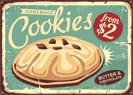 Hausgemachte Kekse Retro-abgenutztes Zeichendesign. Butterkeks auf altem Vintage-Schild. Lebensmittel Bäckerei Keks-Vektor-Illustration. Vektorgrafik