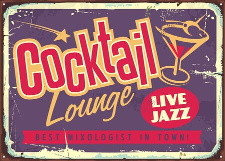 Cocktail lounge live jazz vintage colorful sign with creative typography logo and glass of martini cocktail. Stock Illustratie