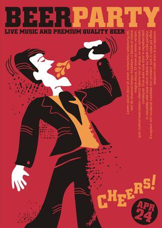 Bierparty lustige Plakatvorlage mit Cartoon-Stil-Mann-Charakter, der Bier aus der Flasche auf der Party-Veranstaltung trinkt. Kreative und einzigartige Einladung zur Bar- oder Kneipenwerbung.