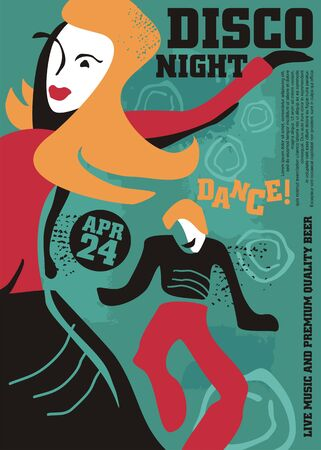 Dancing couple artistic poster design for disco night. Dance party invitation template with colorful drawing of man and woman having fun.