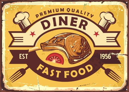 Retro diner sign with lamb steak, slice of tomato, chef hat and fork on old yellow background. Restaurant promo poster. Vector fast food menu illustration.