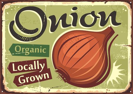 Vegetables sign. Onion locally grown organic farm product retro poster design. Farmers market vector advertising poster idea.