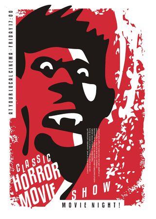 Vampire movies retro cinema poster design. Evil vampire portrait with sharp teeth on bloody splattering red background. Horror film festival conceptual artistic idea. Иллюстрация