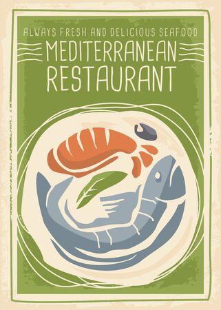 Mediterranean restaurant menu poster design with fresh fish, shrimp, olive and mint leaf drawing. Seafood cuisine. Promotional bistro flyer vintage vector illustration.