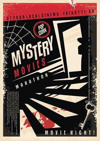Design di poster cinematografici di film misteriosi con strana silhouette che guarda attraverso la porta del seminterrato il sangue sulle scale. Vettoriali