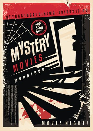 Mystery movies cinema poster design with strange silhouette looking through the basement door at blood on the stairs.